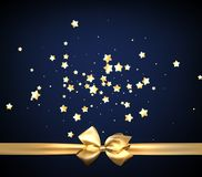 Blue festive background with golden bow. Blue festive background with stars and golden bow. Vector illustration Royalty Free Stock Photography