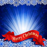 Blue festive background with snowflakes. Vector blue festive background with snowflakes and a red ribbon Stock Images
