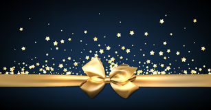 Blue festive banner with golden bow. Stock Photos