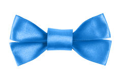 Blue festive bow made from ribbon Royalty Free Stock Photography