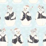 Blue Festive Christmas Ice Winter Snowman Friends vector illustration