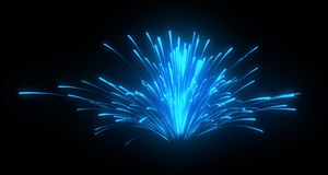 Blue festive fireworks and explosions at night. Over black Stock Photos
