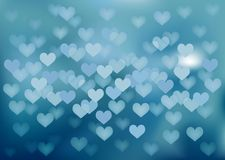Blue festive lights in heart shape, vector Royalty Free Stock Images