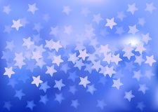Blue festive lights in star shape, vector. Vector background defocused festive lights, no size limit Stock Image