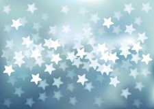 Blue festive lights in star shape, vector. Vector background defocused festive lights, no size limit Stock Photography
