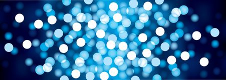 Blue festive lights, vector background. Royalty Free Stock Photos