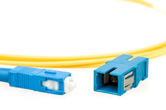 Blue fiber optic SC connector Stock Photos