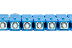 Blue fiber optic SC connector Stock Photos