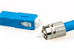 Blue fiber optic SC connector and FC type connector Royalty Free Stock Photos