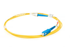 Blue fiber optic SC connector patchcord Royalty Free Stock Images