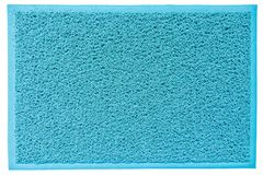 Blue Fiber Welcome Mat with Copy Space royalty free stock photo