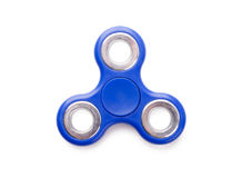 Blue fidget spinner anti-stress toy royalty free stock images