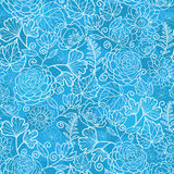 Blue field floral texture seamless pattern Stock Photography