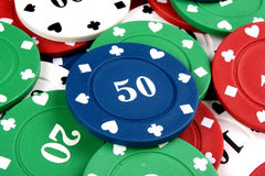 Blue Fifty Gambling Chip Royalty Free Stock Images