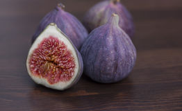 Blue figs. Close up on Rustic Background Stock Image