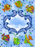 Blue figural frame with tropical fishes Stock Photography