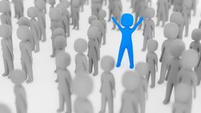 Blue figure standing out in crowd. Blue figure among many gray figures with arms in the air Stock Images