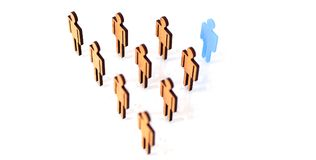 Blue figure silhouette man head of job seekers. On financial exchange Royalty Free Stock Image