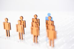 Blue figure silhouette man head of job seekers. On financial exchange Stock Photography