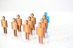 Blue figure silhouette man head of job seekers. On financial exchange Stock Photos