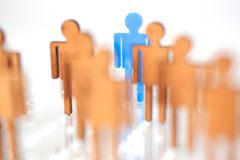 Blue figure silhouette man head of job seekers. On financial exchange Royalty Free Stock Images