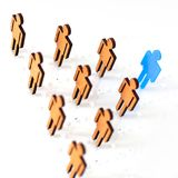 Blue figure silhouette man head of job seekers. On financial exchange Royalty Free Stock Photography