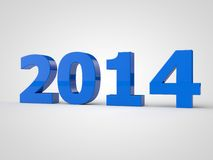 2014 blue. 2014 figures on a white background 3d Royalty Free Stock Photo