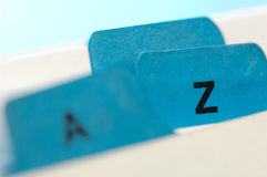 Blue file cards. A and Z Royalty Free Stock Image