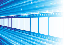 Blue film. Film strip perspective at bright blue background Royalty Free Stock Photography