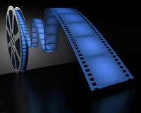 Blue Film Reel. On the dark room stock illustration