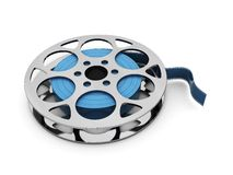 Blue film reel. 3d illustration of film real over white background Stock Image