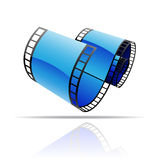 Blue film reel. Isolated on white stock illustration