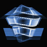Blue film roll. Abstraction blue film roll background Royalty Free Stock Image