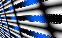 Blue Film strips as background Stock Photos