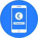 Blue finance and euro sign design in a flat round button Stock Photography