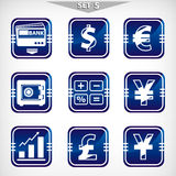 Blue finance icons set Royalty Free Stock Photos