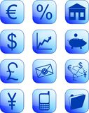 Blue financial buttons and icons Stock Photos