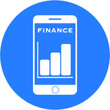 Blue financial design in a flat round button. And white sketch Stock Image