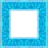 Blue fine border. Abstract floral border on a bright blue background Royalty Free Stock Images