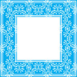 Blue fine border. Border with abstract floral fine curves on a blue background Stock Photo