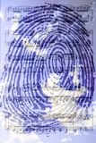 Blue  fingerprint against the background of clouds. And musical notes Stock Photos