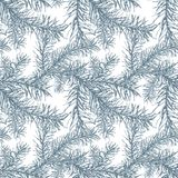 Blue fir branches seamless pattern. Hand drawn blue fir branches seamless pattern Royalty Free Stock Photos