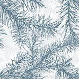 Blue fir branches seamless pattern. Hand drawn blue fir branches seamless pattern Stock Photo