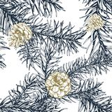 Blue fir branches seamless pattern. Hand drawn blue fir branches seamless pattern Stock Photos