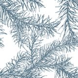 Blue fir branches seamless pattern. Hand drawn blue fir branches seamless pattern. Vector illustration Royalty Free Stock Photography
