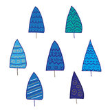 Blue fir-trees. Funny blue fir-trees in snow Royalty Free Stock Images