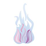 Blue fire. Blue flames isolated on white background, abstract vector art illustration Royalty Free Stock Image