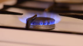 Blue fire burner of gas-stove stock footage