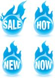 Blue fire buttons. Four blue fire buttons with text Stock Illustration