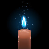 Blue fire candle Royalty Free Stock Image